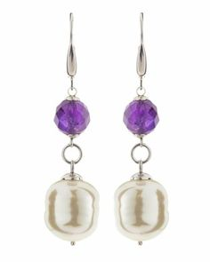 Amethyst and Baroque Pearl Earrings by Majorica at Neiman Marcus Last Call.