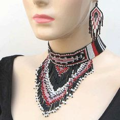 Native Style Black Pink White Beaded Bib Necklace Earrings Bead Jewelry