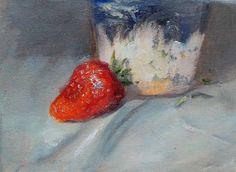 "Daily Paintworks - ""Single Strawberry"" - Original Fine Art for Sale - © Lina Ferrara"