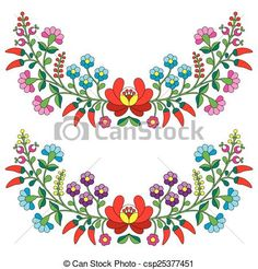 Vector - Hungarian floral folk pattern - stock illustration, royalty free illustrations, stock clip art icon, stock clipart icons, logo, line art, EPS picture, pictures, graphic, graphics, drawing, drawings, vector image, artwork, EPS vector art