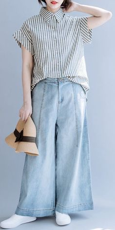 Gray Striped Cotton Linen Blouse Women Casual Summer Tops S10065