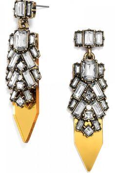 pretty yellow crystal drop earrings