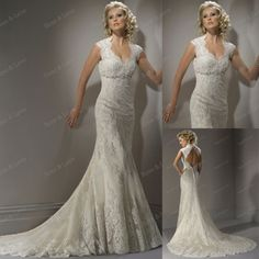 Free Shipping Wholesale Custom Made Cap Sleeve Backless Bodice Lace Chiffon Noble Wedding Dresses T-0002 $190.00