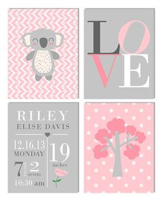 New to LetteredWhimsy on Etsy: Baby Girl Nursery Print | Koala Nursery Decor | Pink Gray Nursery | Nursery Prints | Pink Gray Canvas Nursery Art (29.95 USD)