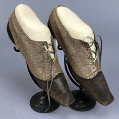 LOT 119 LADY'S BROWN LEATHER and BROCADE SHOES, 1825 - 1835 - whitakerauction