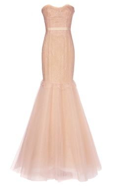 Shop Chantilly Lace Corset Gown With Full Fishtail Tulle Skirt by Marchesa Now Available on Moda Operandi