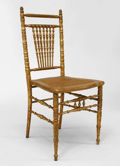6 French Victorian style gilt ballroom style side chairs with spindle back and t