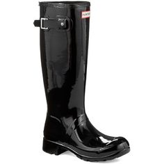 Hunter Women's Original Tour Gloss Rubber Rain Boots ($150) ❤ liked on Polyvore featuring shoes, boots, midnight, slip on boots, rubber rain boots, lightweight rain boots, slip-on shoes and hunter boots
