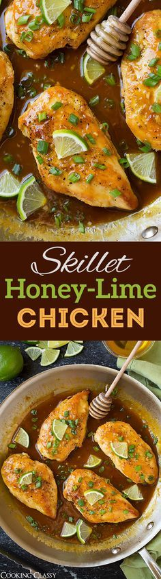 Skillet Honey-Lime Chicken - so quick and easy and so flavorful! Perfect weeknight dinner, serve with coconut rice!