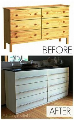 Ikea Dresser Transformed Into Kitchen Sideboard