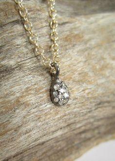 Pave Diamond Necklace Minimalist Diamond Teardrop by julianneblumlo on Etsy https://www.etsy.com/listing/222132158/pave-diamond-necklace-minimalist-diamond