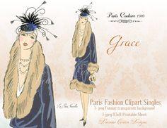 Vintage Clipart 1900 fashion clipart female by DeannaCartea