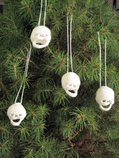 Tiny Crocheted Skull Ornaments - Set of 4