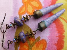 Lavender and Bronze Earrings Lilac Spike by Northernblooms on Etsy