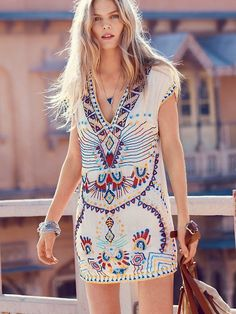 An embroidered tunic doubles as the perfect dress for  festival season.