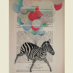 hand paint, petit illustr, flying pigs, origin artwork, magazin la, artwork hand, zebra, parisien magazin, print