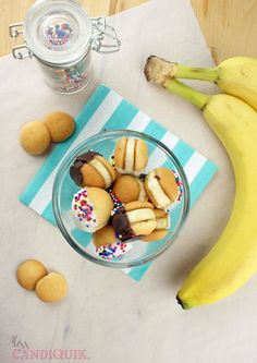 Chocolate BaNilla Wafer Bites - Bite-size banana Nilla Wafer sandwich cookies! These are super easy to put together and will be gone very fast!  @Miss CandiQuik @Jenna Manson