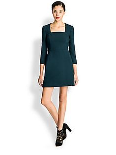 Dolce & Gabbana Wool Crepe Square Neck Dress