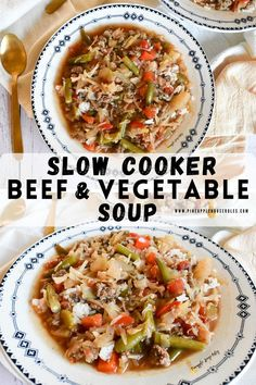 This Slow Cooker Beef and Vegetable Soup is the perfect easy dinner recipe that's comforting, delicious, and healthy. Each serving comes in at only 200 calories! Slow Cooker Recipes | Slow Cooker Soup | Slow Cooker Soup Recipes | Soup Recipes | Soup Recipes Healthy | Soups and Stews | Soup Ideas | Soup with Ground Beef | Soups in a Crock Pot | Low Carb Dinner | Low Carb Recipes | Low Carb Meals | Crockpot Recipes | Crockpot Meals | Crockpot | Stuffed Cabbage Soup | Healthy Soup Recipes | Easy Best Soup Recipes, Healthy Soup Recipes, Easy Dinner Recipes, Easy Meals, Chili Recipes, Fall Recipes, Delicious Recipes, Slow Cooker Soup, Slow Cooker Recipes