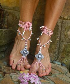 BRIDAL BAREFOOT sandals PINK shanti collection beach by GPyoga, $64.00