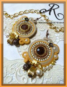 Orecchini soutache...shabby chic style...con perle di boemia e componenti in metallo...