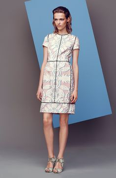 ESCADA Resort 2014 Look 7: Fashion dress with short sleeves, a round neckline and a floral print on stretch silk.