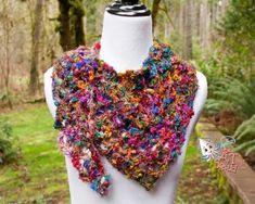 Sari Shawl Free crochet pattern  -  use with  Red Heart Boutique Silk Sari yarn