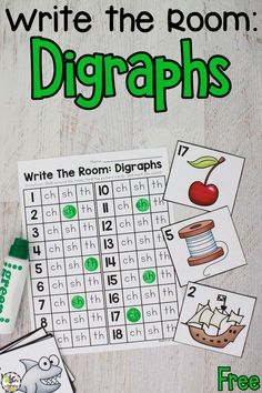 Are you looking for a fun way to get your beginning readers up and moving while they practice identifying digraphs? In this Beginning Digraph Write The Room activity, your kids will say the sound that a picture starts with and write or dot the ch, sh, and th on their recording sheet. It's an engaging and entertaining phonics activity for children who are learning to read! Click on the picture to get this free phonics activity! #phonicsactivity #beginningreaders #digraphs #writetheroom