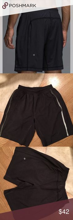"Lululemon Men's Pace breaker running shorts 9 in. Lululemon men's running shorts. Luxtreme lined. Two side pockets with an additional zip pocket on one side. I believe this style is called the ""pace breaker."" Inseam is 9 inches. Only worn one time. lululemon athletica Shorts Athletic"