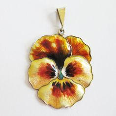 Antique Sterling Enamel Norway Pansy Pendant by Gustav Hellstrom ca. 1910 YELLOW old for $225
