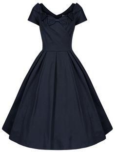 NEW LINDY BOP VINTAGE 1950'S DOLCE VITA ITALIAN STYLE TRIPLE BOW FLARED DRESS