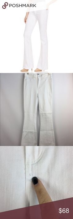 PAIGE Bell Canyon High Rise Flare Jeans White \ 30 PAIGE Premin Denim Jeans Bell Canyon High Rise style Size 30 White Gently preowned with no major flaws. A couple stitches of one seam has come loose (pictured) but this really doesn's affect the jeans. There is minor dust at the hem - would come out with cleaning  92% cotton, 6% elastomultiester, 2% elastane (jeans are stretchier than most!)  14.5 inches across waist 10.25 inch rise 32 inch inseam 9.5 inch leg opening PAIGE Jeans Flare…