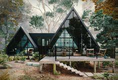 Une immense cabane vitrée à l'intérieur contemporain - PLANETE DECO a homes world A Frame Cabin, A Frame House, Cabin Design, House Design, Cabin Homes, Cabins In The Woods, My Dream Home, Tiny House, Architecture Design