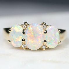 Australian Solid White Opal and Diamond Trilogy Gold Ring - Size 7 Gold Diamond Rings, Opal Rings, 3 Stone Rings, Gold Rings, Lightning Ridge, Australian Opal, White Opal, Opal Jewelry