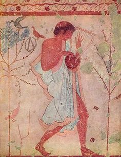 Etruscan musician, Tomb of the Triclinium, Tarquinia.