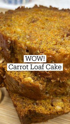 Quick Bread Recipes, Carrot Recipes, Banana Bread Recipes, Baking Recipes, Cake Recipes, Dessert Recipes, Loaf Cake, Bread Cake, Dessert Bread