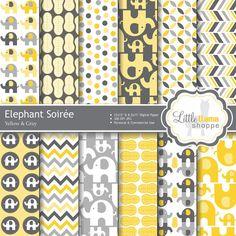 Éléphants Scrapbook numérique papier Pack par LittleLlamaShoppe