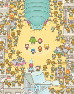 Kawaii pop art by Truck Torrence, artist of the official Star Wars, Marvel Studios emoji. Geek Culture, Pop Culture Art, Toy Art, Illustrations Pop, Doodle Characters, Cultura Pop, Marvel Cinematic, Cute Cartoon, Cute Wallpapers