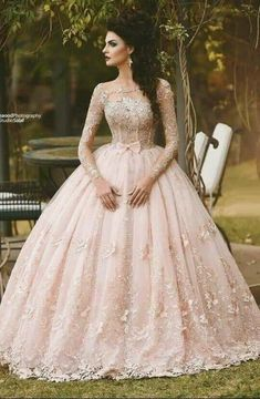 Cheap princess bridal gown, Buy Quality bridal gown directly from China bridal gowns in dubai Suppliers: Vestido de Novia 2017 Blush Pink Lace Ball Gown Wedding Dress Long Sleeves Boat Neck Flora Princess Bridal Gowns in Dubai Quince Dresses, 15 Dresses, Ball Dresses, Pretty Dresses, Dresses Online, Disney Dresses, Formal Dresses, Prom Dresses Long With Sleeves, Long Wedding Dresses