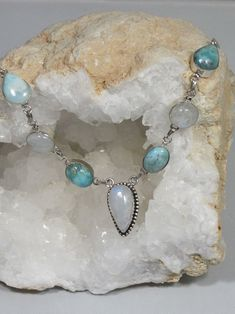 Delicate Larimar Necklace 1 with Moonstone #jewelrynecklaces