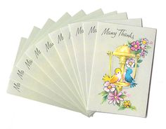 Vintage 1960s Colorful Birds and Flowers Thank You Cards - Set of 10