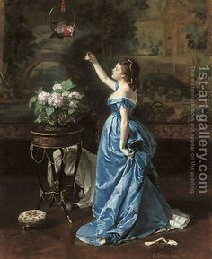 An exotic companion by Auguste Toulmouche