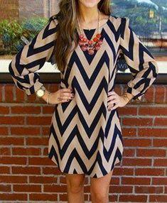 Trendy Zigzag Printed Color Block Dress For Women