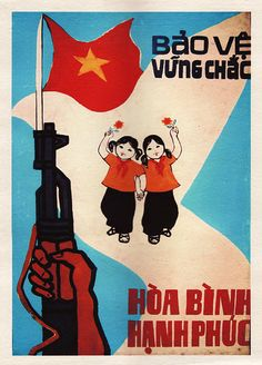 Solid Protection – Peace and Happiness - VIETNAMESE PROPAGANDA POSTER ART