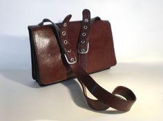 Messenger leather bag, 80s leather shoulder bag, Brown leather Shoulder Bag, cross body bag, tote purse satchel vintage italian boho hippie