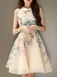 Floral Printed Delicate Doll Collar Skater-dress