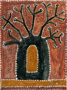 Aboriginal art by Paddy Jaminji depicting a Boab tree jail. Paddy Jaminji paintings were completely different from aboriginal art of Central Australia or Wandjina art. The remote Kimberley is a different culture and language group and the paintings from this area reflect this. Aboriginal Art Australian, Australian Art, Aboriginal Painting, Aboriginal Artists, Aboriginal Culture, Desert Art, Dot Art Painting, Painted Boards, Mythical Creatures
