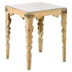 Swedish Aged Mirror Top Side Table with Carved Legs and Metal Corners