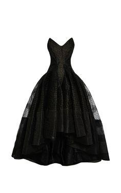 Asymmetric Embroidered Organza Dress by Zac Posen Now Available on Moda Operandi