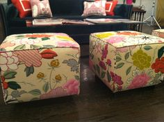 Ottomans with Scalamandre Fabric at Remains Lighting in Chelsea    www.goodbonesgreatpieces.com